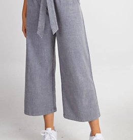 Blue grey linen washed wide leg pants