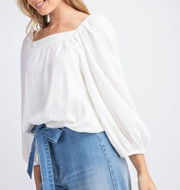 White square neck elastic top