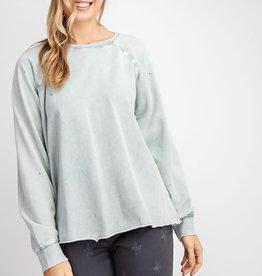 Sage distressed sweatshirt