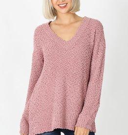 Lt rose popcorn V neck sweater