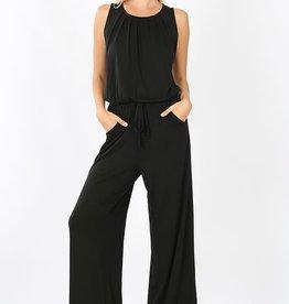 Sleeveless jumpsuit w/pockets