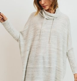 Grey brushed marbled drawstring neck top