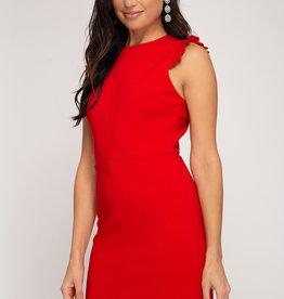 Ruffled sleeve dress w/back zip