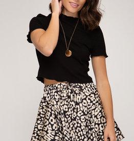 Satin animal print flutter skirt
