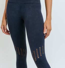 Black perforated capri leggings