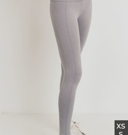Lt grey rib mineral wash leggings