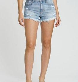 Lt wash high rise cut off denim shorts