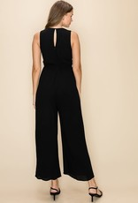 V neck pleated front jumpsuit