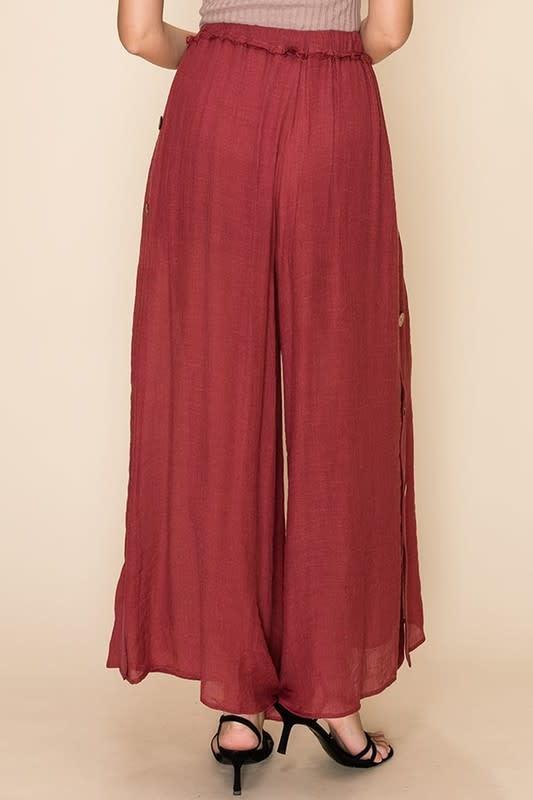 Wide leg drawstring pants w/button detail