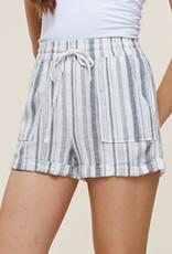 Grey striped drawstring shorts