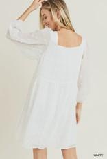 Swiss dot square neck dress