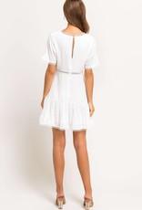 White swiss dot, crochet trim dress