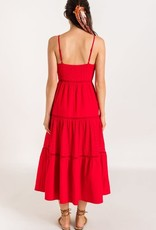 Red tiered eyelet maxi dress