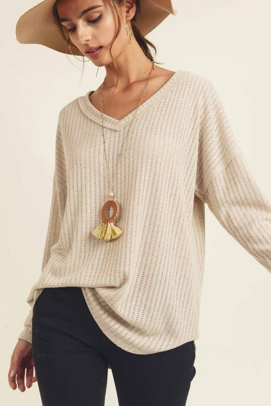 Cable knit V neck top