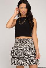Off white print smocked flounce skirt