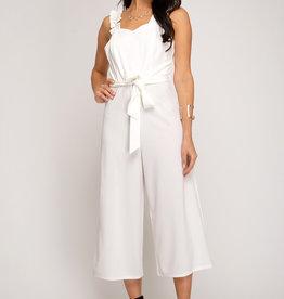 White ruffle strap jumpsuit