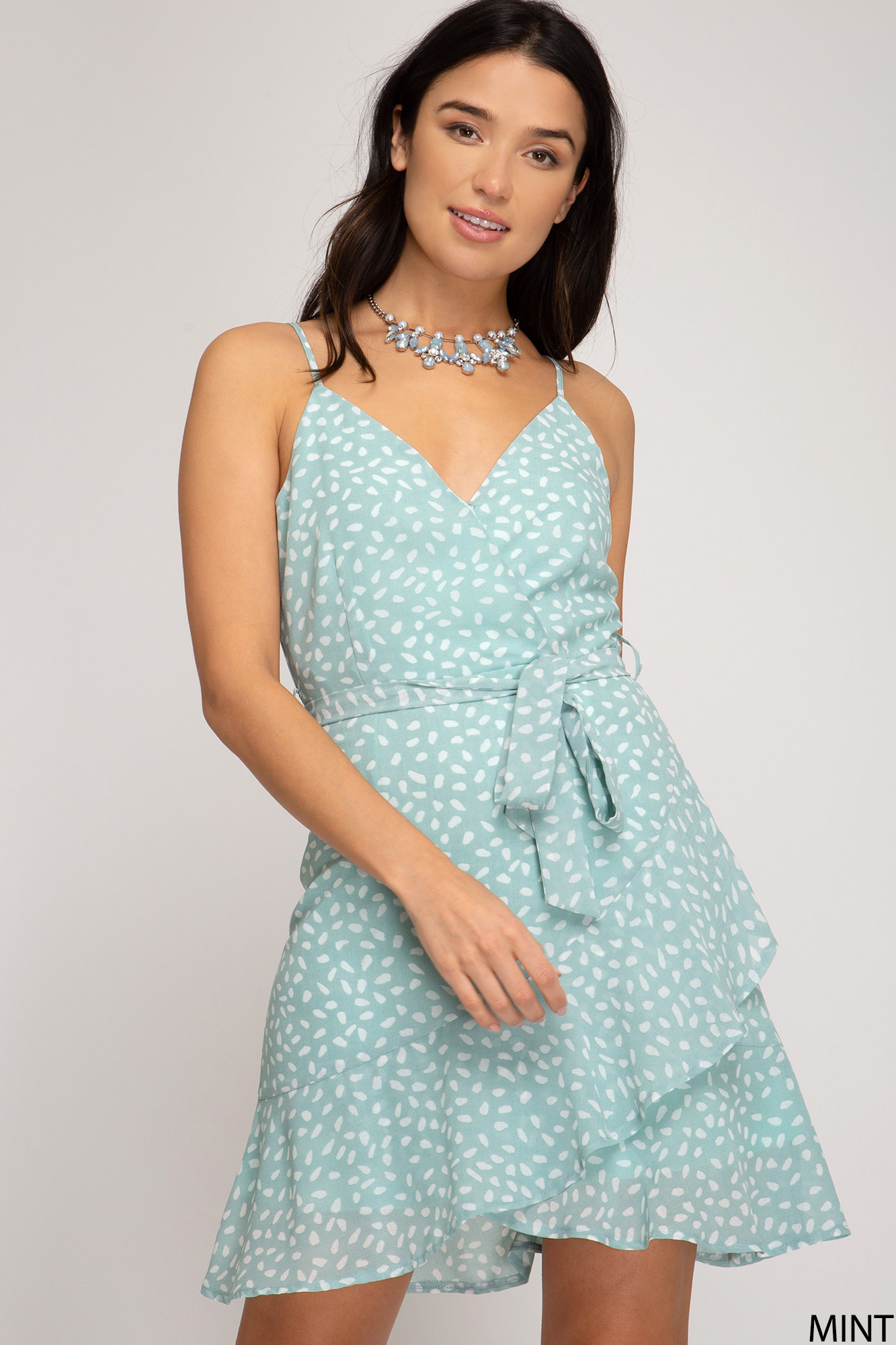 Mint print surplice dress w/flounce skirt