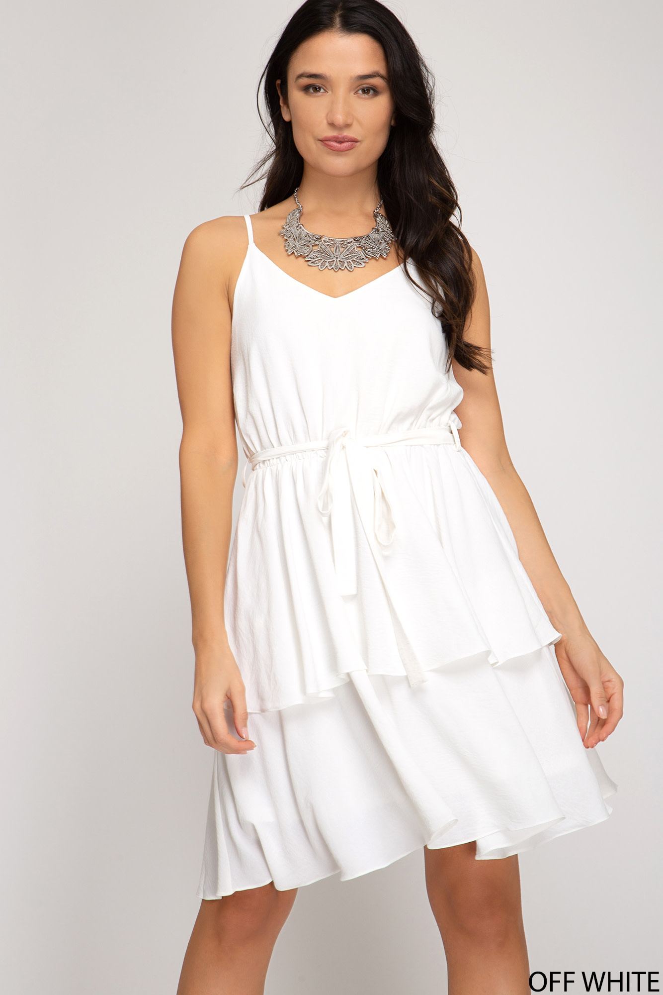 Tiered cami dress w/waist sash