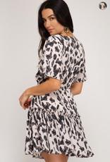 Cream print flounce skirt dress