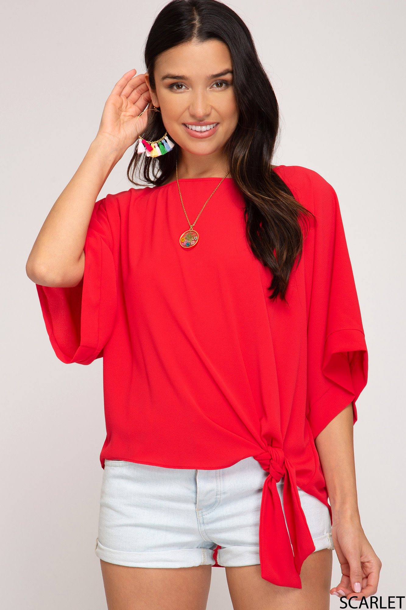 Scarlet kimono sleeve side tie top