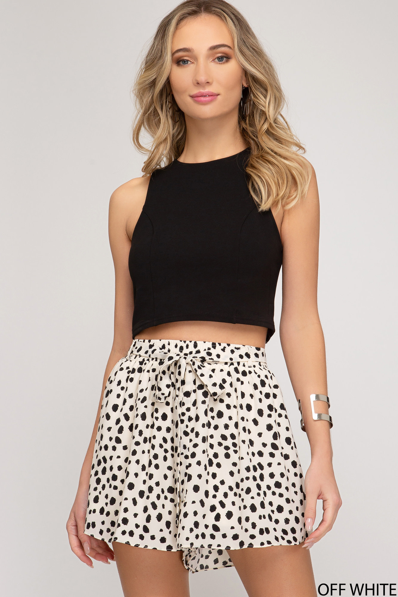 Printed shorts w/elastic waistband & sash