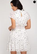White print ss smocked waistband dress
