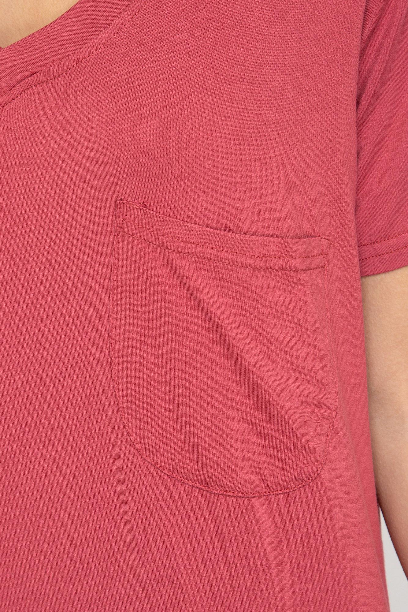 SS V neck pocket front tee