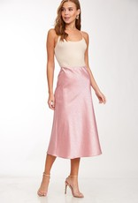 Mauve animal print satin midi skirt