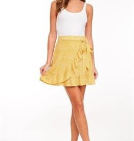 Yellow print ruffle wrapped skirt