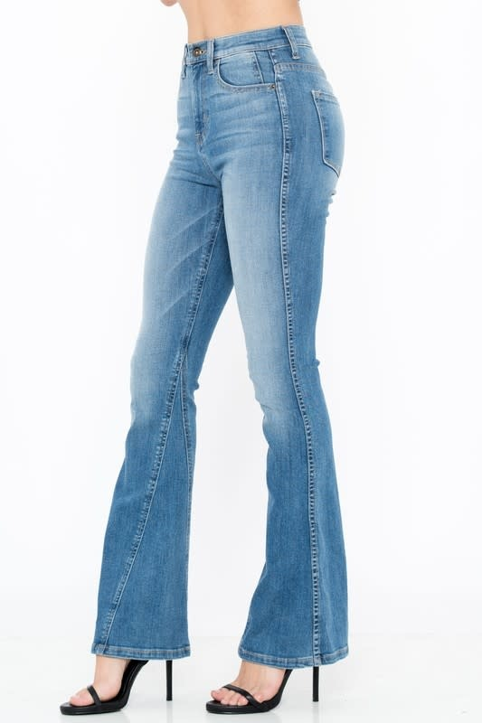 M wash high rise flare jeans