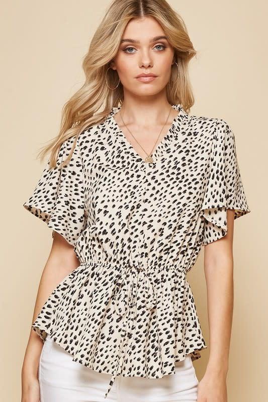 Leopard print V neck elastic waist top