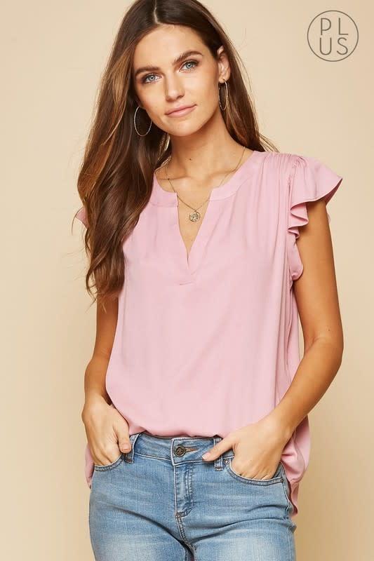 Rose flutter sleeve V neck top