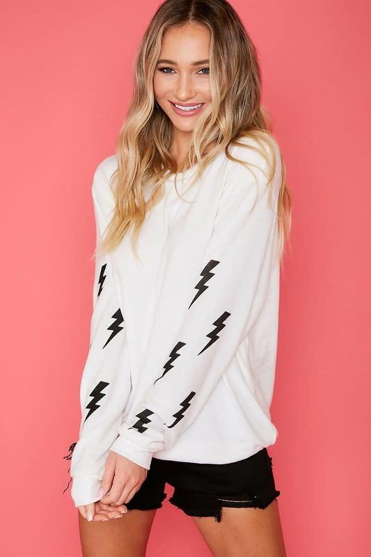 Lightning bolt sleeve graphic sweatshirt
