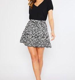 Black daisy ruffle skirt