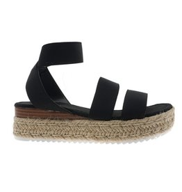 Elastic double band & ankle strap espadrille sandal