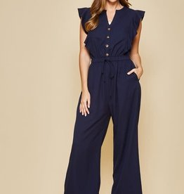 Navy button front jumpsuit w/ruffle sleeves