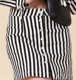 Black & white striped snap front skirt