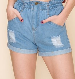 Distressed denim paperbag waist shorts