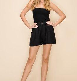 Black satin high waist shorts