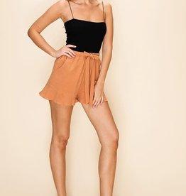 Almond ruffle trim shorts