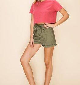 Olive front pocket drawstring shorts