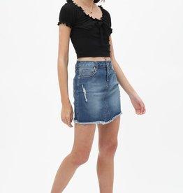 Lightly washed denim skirt