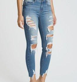 In too deep mid rise, distressed skinny crop jeans