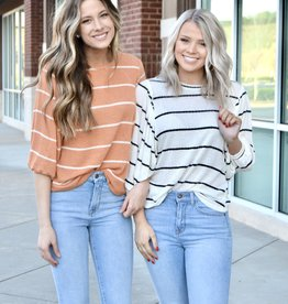 Striped cropped sleeve sweater