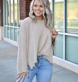 Beige distressed sweater w/front pocket