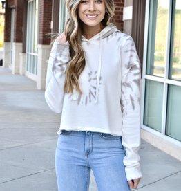 Sand tie dye cropped hoodie