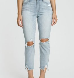 Lt wash high rise straight crop jeans