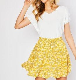 Yellow daisy ruffle skirt