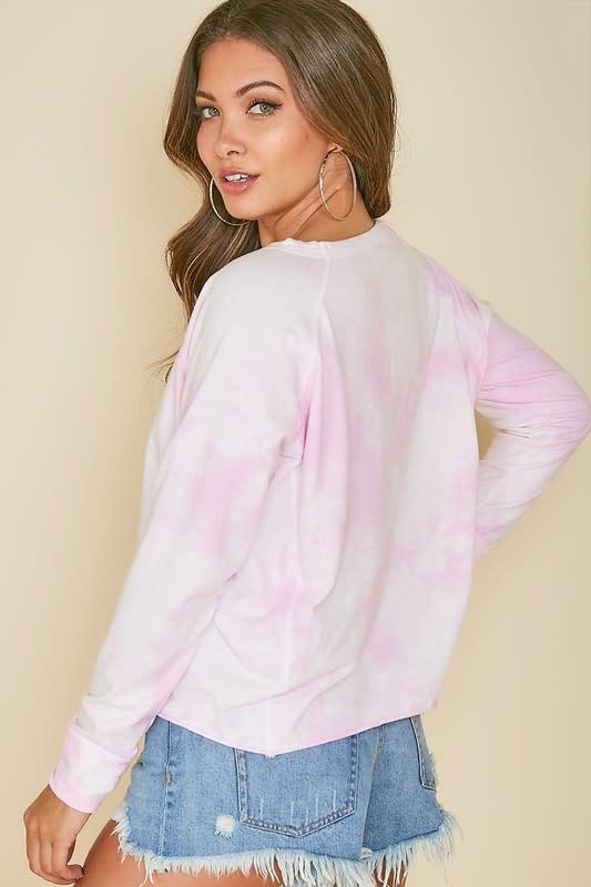 Blush tie dye LS top