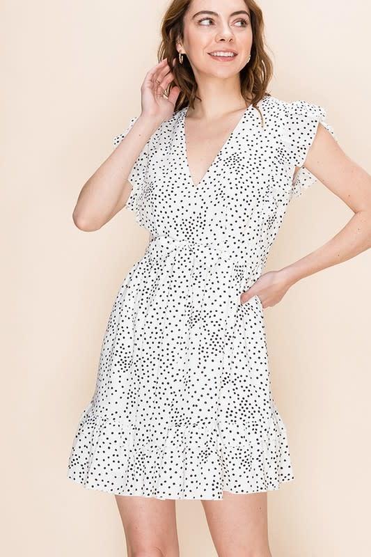 Vneck polka dot dress w/ruffle detail